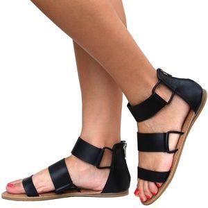Black Three Band Gladiator Flat Sandals NIB